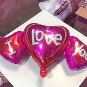 בלון שלוש לב I LOVE YOU