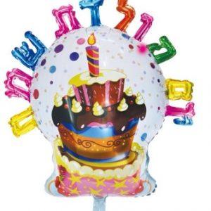 בלון עוגה עם אותיות יום הולדת שמח בעברית ענק