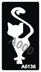 קעקוע חתול | קעקועי נצנץ | שבלונה דגם 136