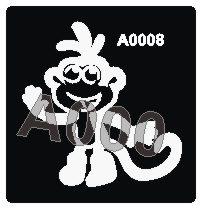 קעקוע קוף | קעקועי חינה | שבלונה דגם 008